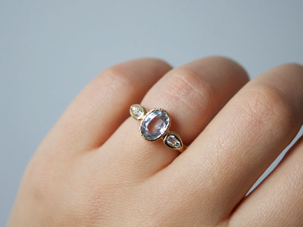 Light Blue Sapphire Sun Ring - Yuliya Chorna Jewellery