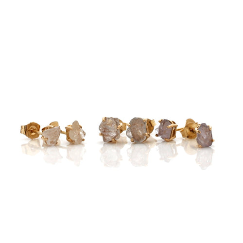 Light pastel sapphire gold studs in 14k yellow gold