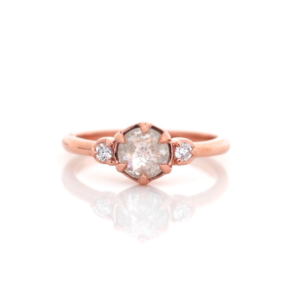 Round rose cut icy diamond engagement ring in rose gold