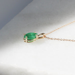 Marquise Emerald Necklace In Yellow Gold - ready to ship - Yuliya Chorna Jewellery