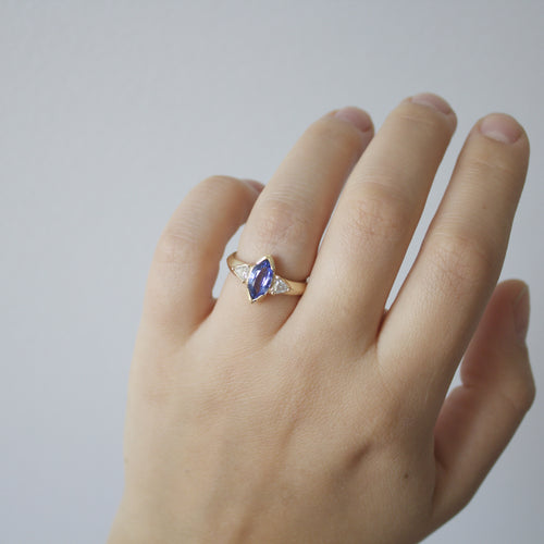 Marquise Sapphire Edge Ring