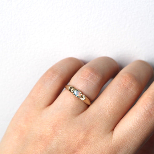 Marquise opal edge ring in 10k yellow gold