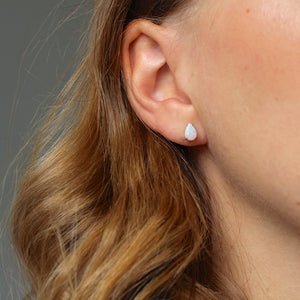 White Opal Pear Gold Studs - ready to ship - Yuliya Chorna Jewellery
