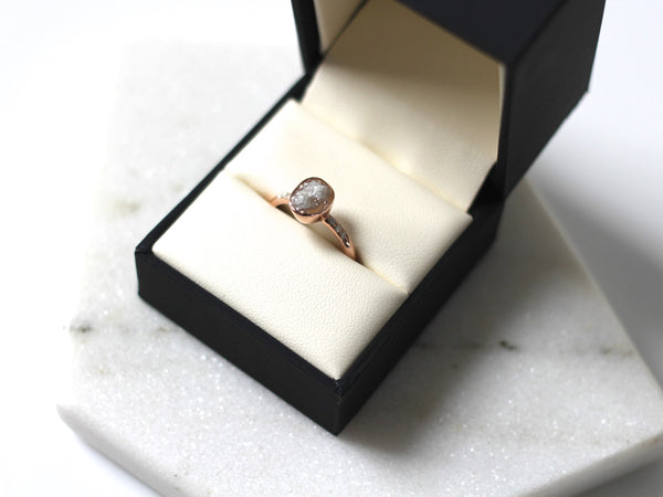 Canadian Oval Raw Diamond Solitaire