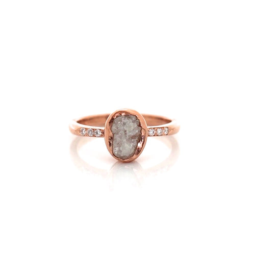 Oval Raw Diamond Bezel Solitaire