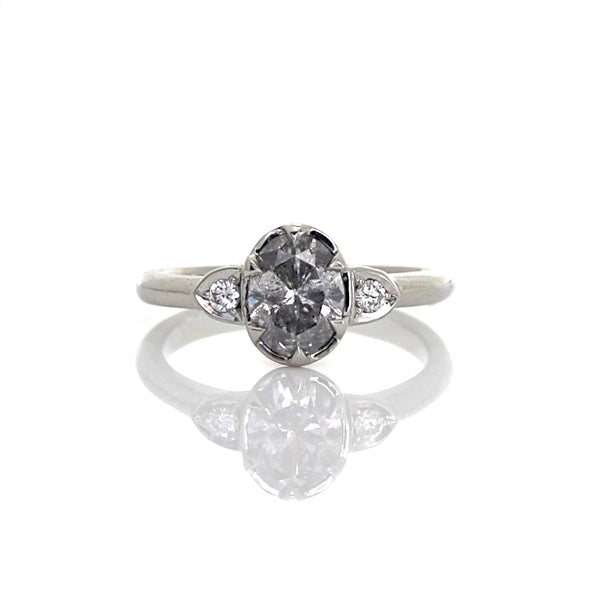 Oval salt & pepper diamond engagement ring