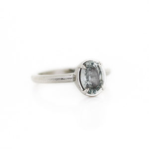 1.63ct Light Grey Oval Sapphire Solitaire Ring In White Gold - Ready To Ship - Yuliya Chorna Jewellery