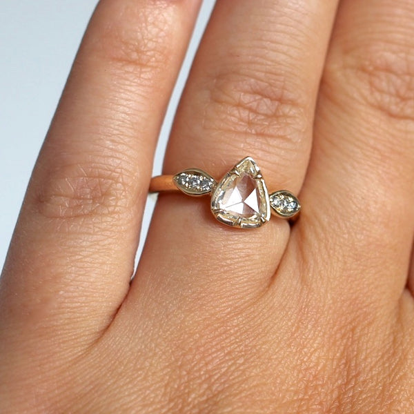 Pear rose cut diamond ring in yellow gold