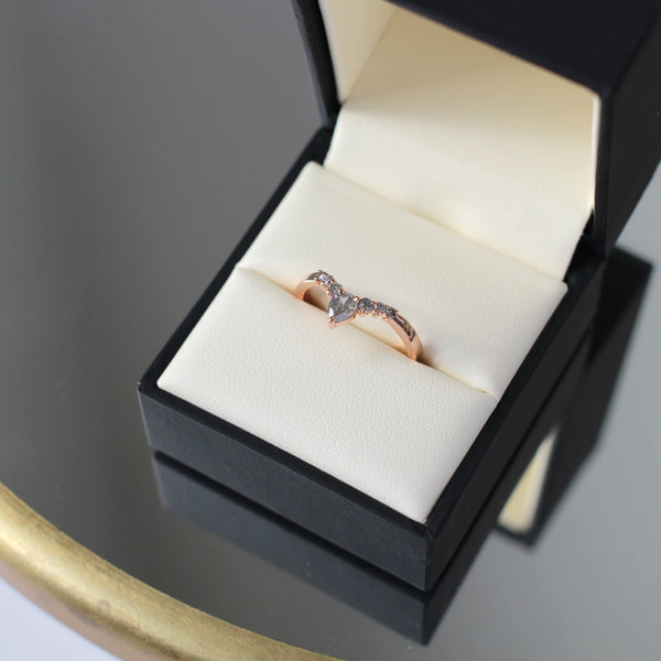 Pear diamond contour wedding band in rose gold