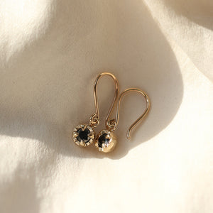 Round Black Diamond Sun Earrings - Yuliya Chorna Jewellery