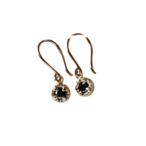 Round Black Diamond Sun Earrings - Ready To Ship - Yuliya Chorna Jewellery