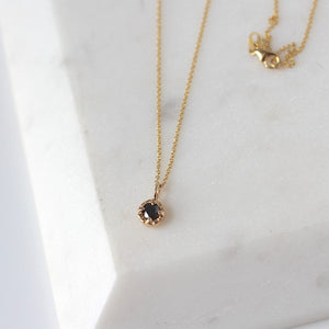 Round Black Diamond Sun Necklace - made to order - Yuliya Chorna Jewellery