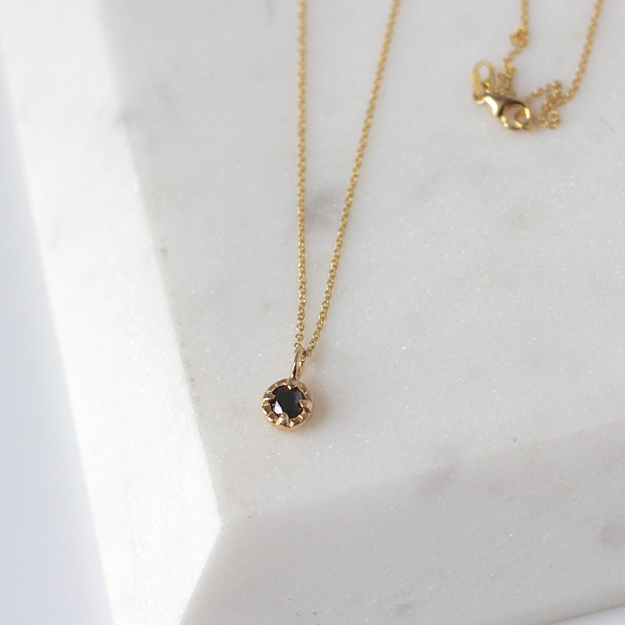 Round Black Diamond Sun Necklace - Yuliya Chorna Jewellery
