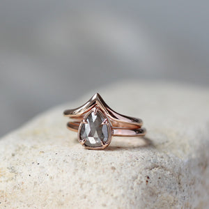 1.25ct Rustic Grey Pear Diamond Solitaire Ring In Rose Gold - Ready To Ship - Yuliya Chorna Jewellery