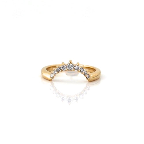 Contour diamond crown wedding band in yellow gold