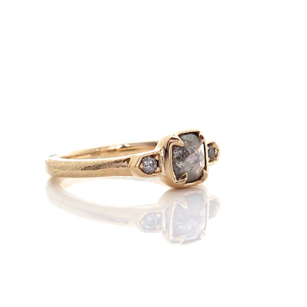 Cushion rose cut diamond claw ring in 14k yellow gold