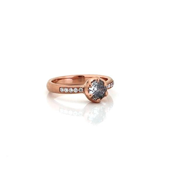 6 Claw Salt & Pepper Diamond Solitaire