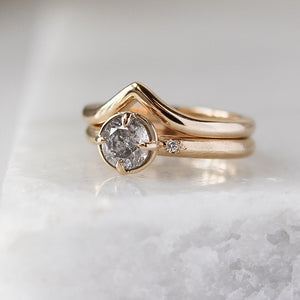 0.90ct Round Salt & Pepper Diamond Around The World Ring - ready to ship - Yuliya Chorna Jewellery