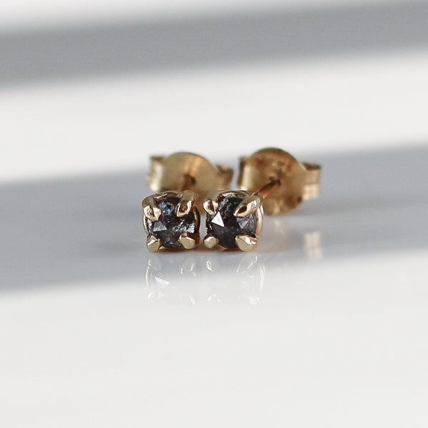Rose Cut Salt & Pepper Diamond Studs - ready to ship