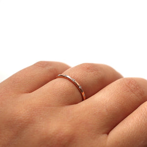 Thin Hammered Diamond Band - Yuliya Chorna Jewellery