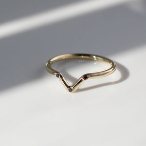 Three Sisters Black Diamond Point Band In Yellow Gold, Ready To Ship - Yuliya Chorna Jewellery