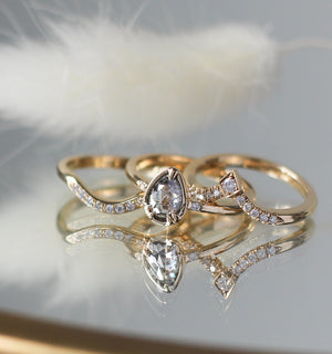.66ct Zaria Pear Salt & Pepper Diamond Ring In Yellow Gold - Ready To Ship - Yuliya Chorna Jewellery