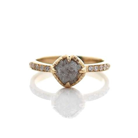Canadian Raw Diamond Gold Solitaire - Yuliya Chorna Jewellery