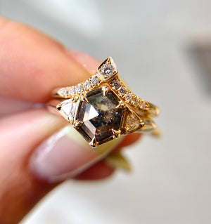 1.05ct Hexagon Diamond Ring In Yellow Gold - Ready To Ship - Yuliya Chorna Jewellery