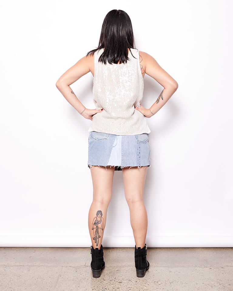 Sashiko Patchwork Levi's Denim Skirt
