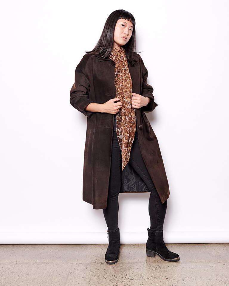 Vintage Suede Coat - Brown