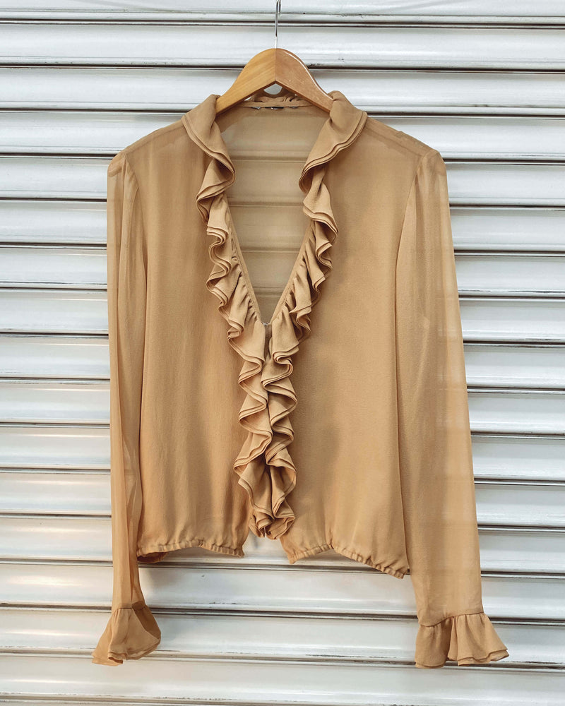 Vintage Silk Blouse - Thai Coffee Ruffles