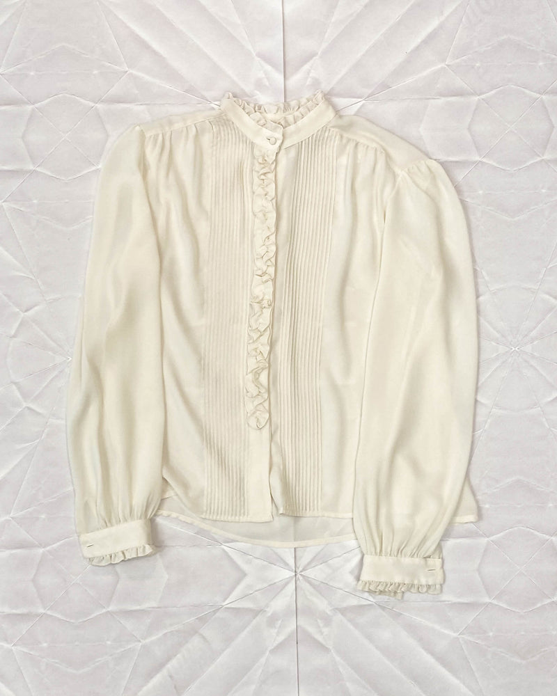 Vintage Sheer Pintuck and Ruffle Blouse