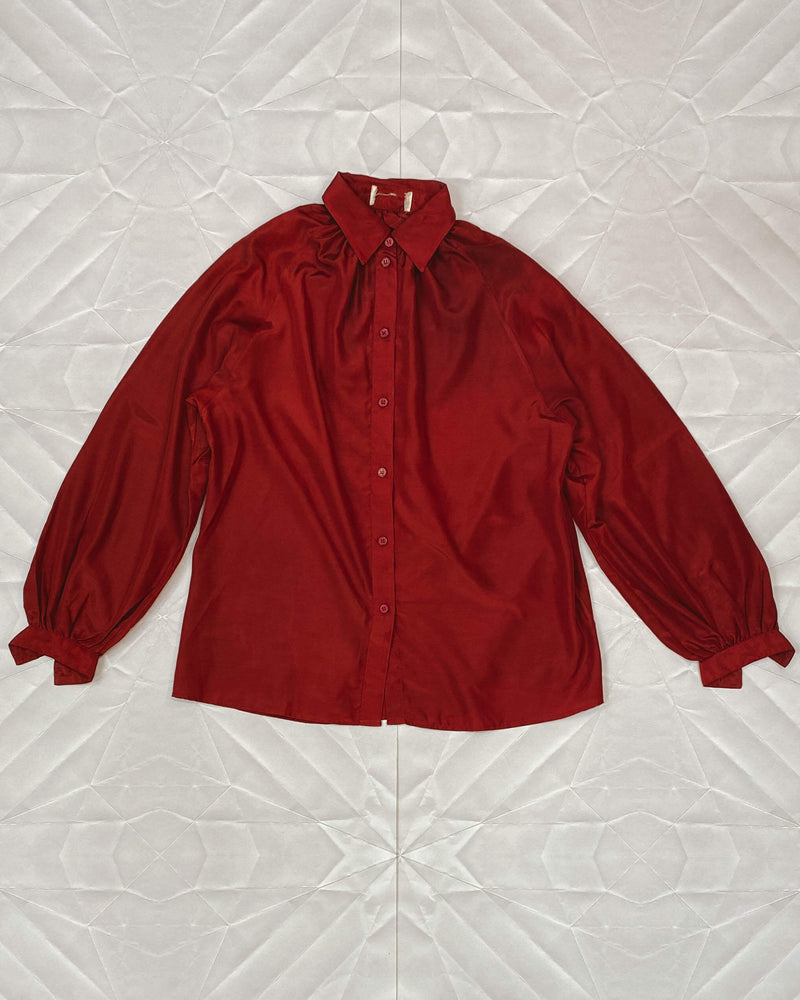 Vintage Femme Button Up - Burgundy