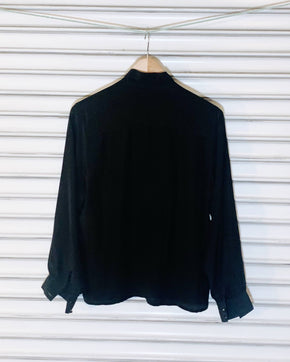 Vintage Silk Blouse - Black Pintucks