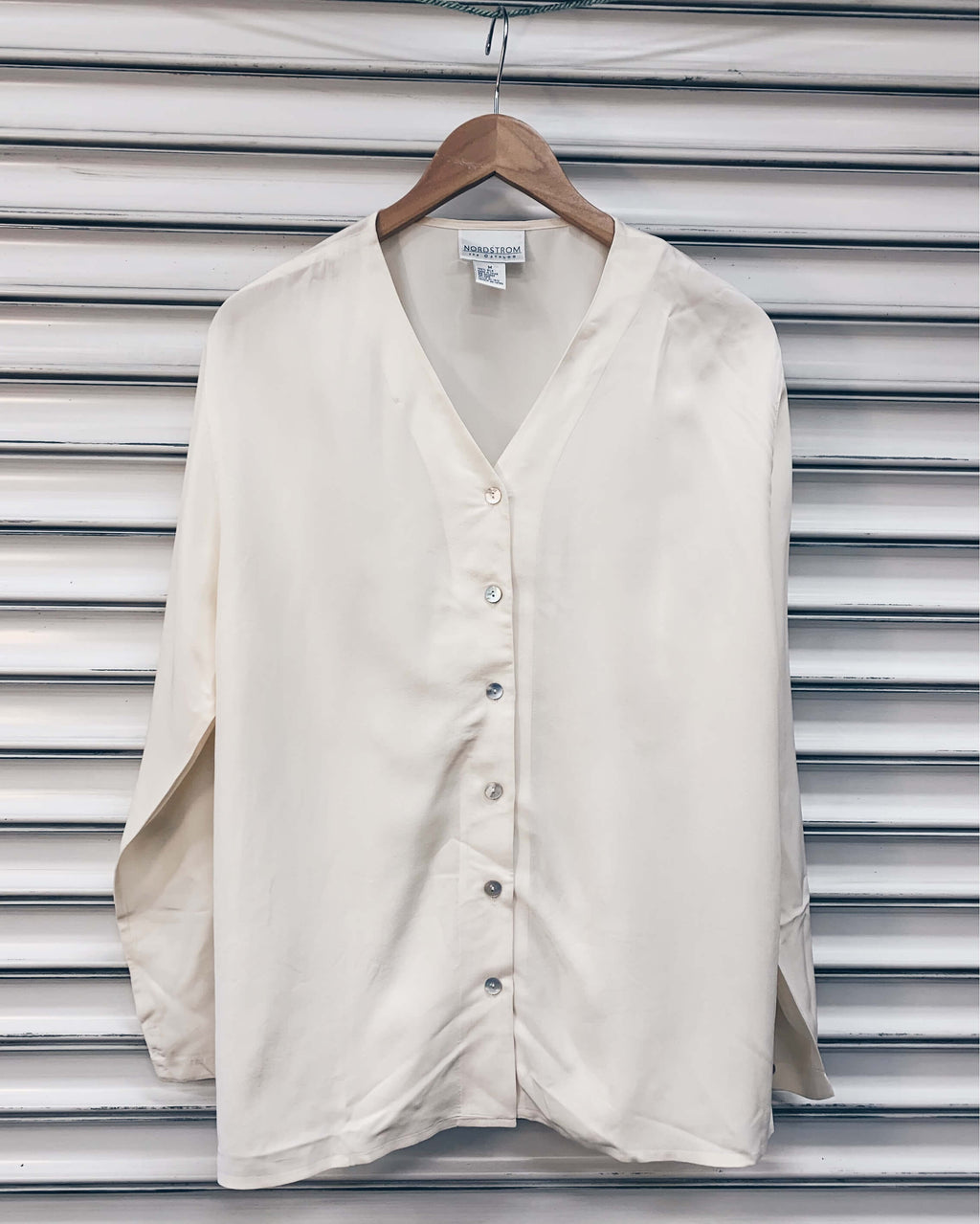 Vintage Collarless Silk Blouse - Ivory