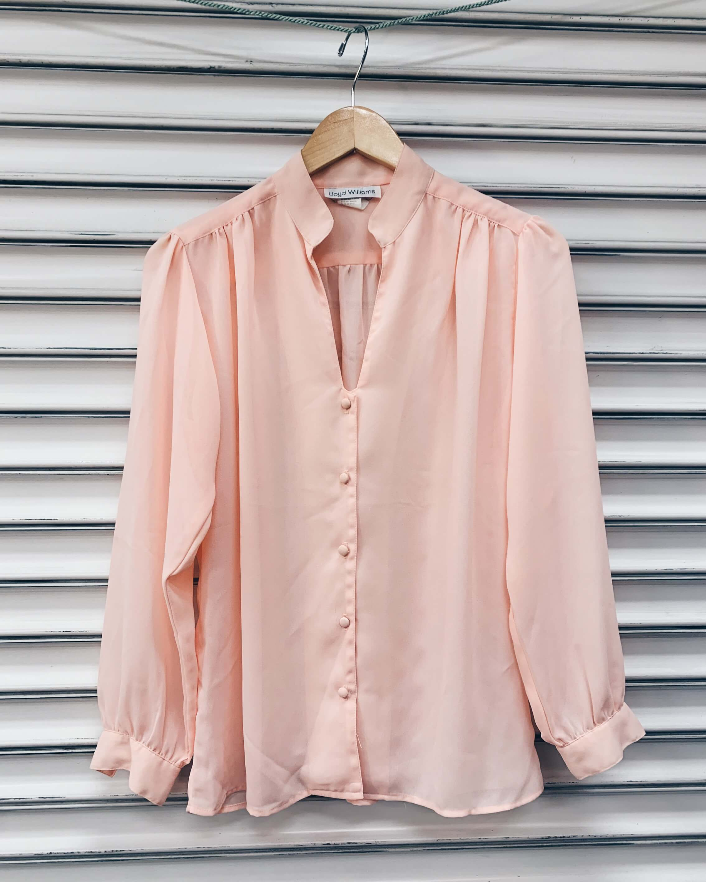 Vintage 70's Sheer Poly Open Collar Blouses