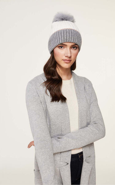 SOIA & KYO hat with removable feather pom pom Ciel