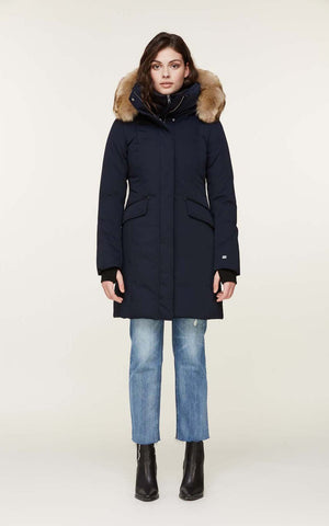 SOIA & KYO coat with faux fur Emele