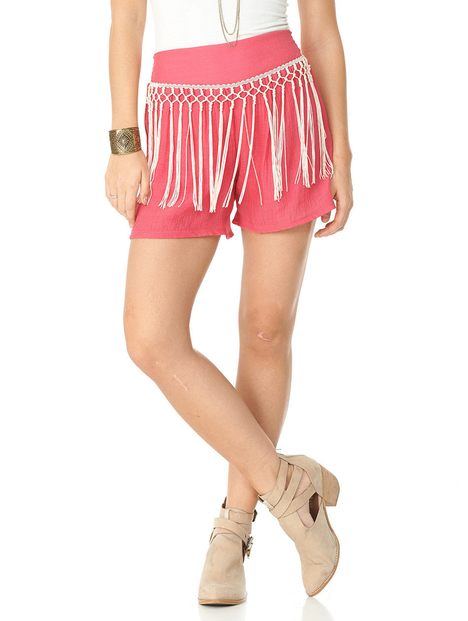 2tee Couture Pink Fringe Shorts