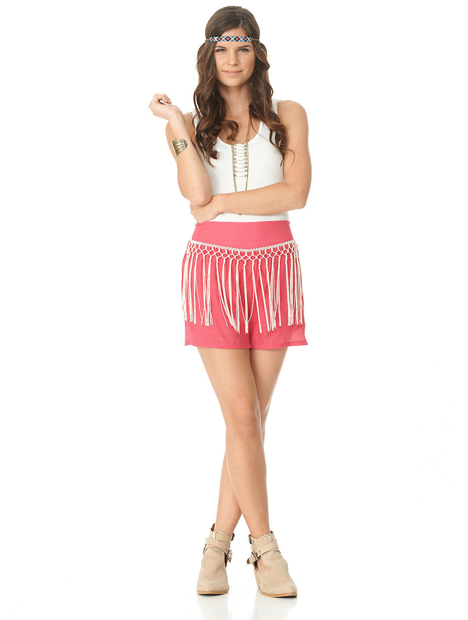 2tee Couture Pink Holly Fringe Shorts