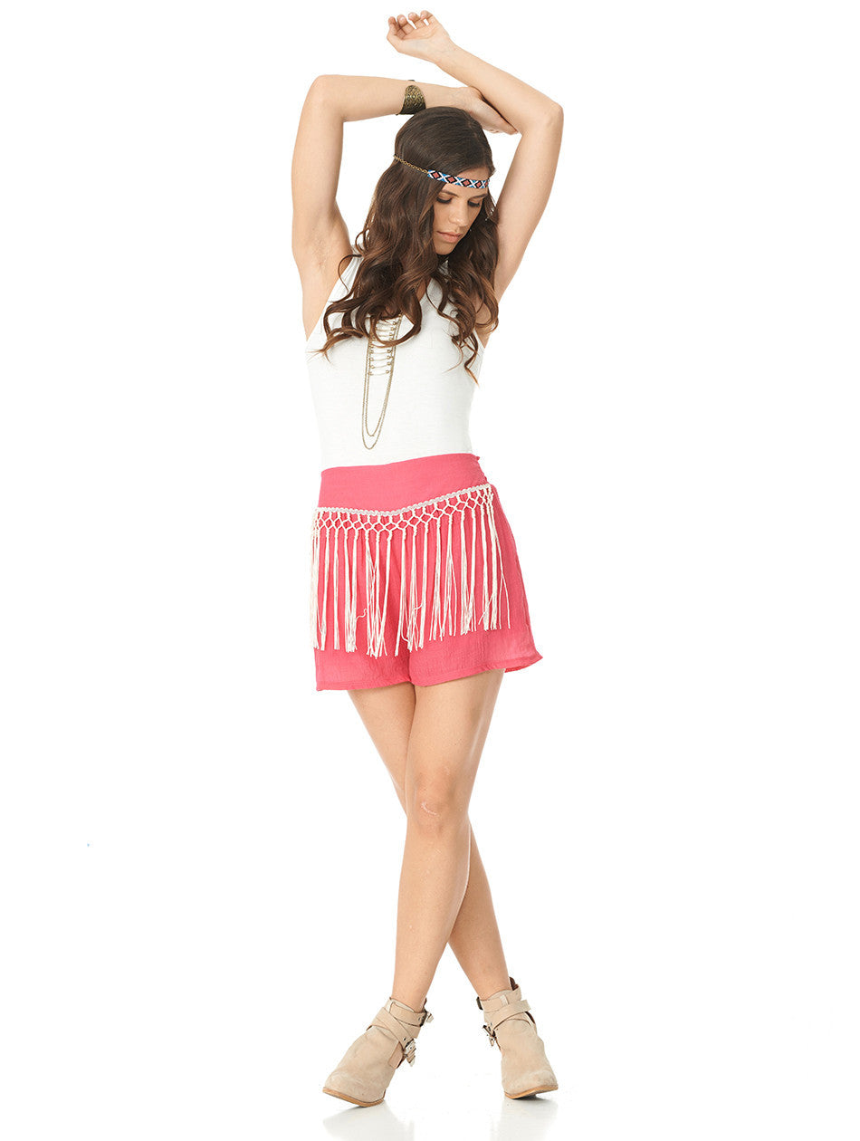 2tee Couture Bohemian Fringe Shorts, Pink