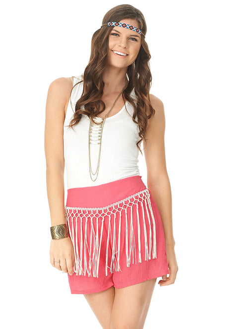 2tee Couture Holly Pink Fringe Shorts