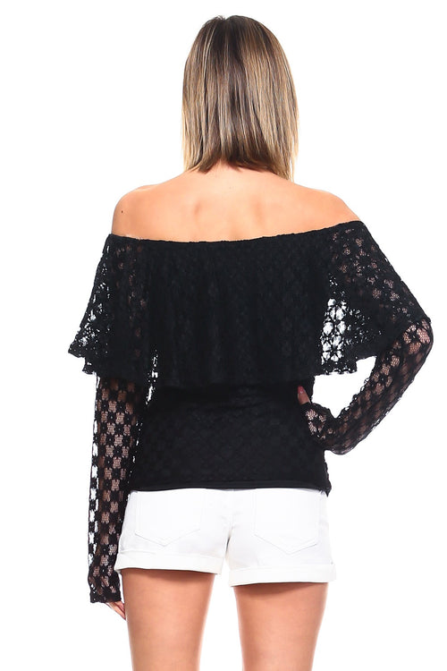 Fawn Top - Black Lace