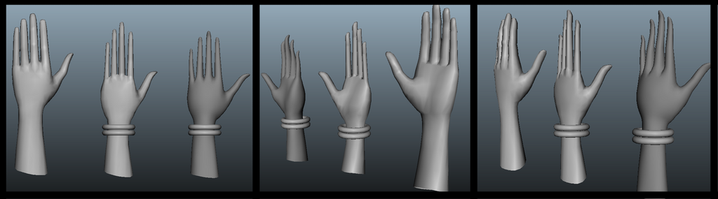You can see here the iterations inside Maya, from the original model to the stylized one, and how notorious is the deformation, specially in the fingers.