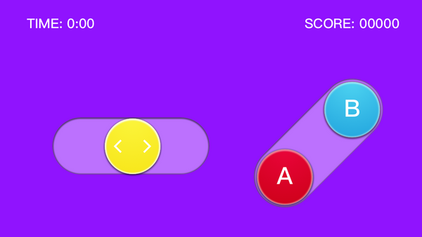 First iteration of the controller showing the layout and the art pass, using a toggle bar for movement, A button to rotate and B button for quick dropping the piece.