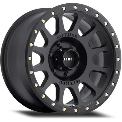 "METHOD WHEELS - NV (305) - 17x8.5 0P/4.75"" Backspace - 6 on 5.5 - Matte Black - MORE 4x4"
