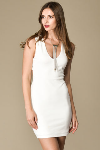 X Back Bodycon Dress with Back Slit