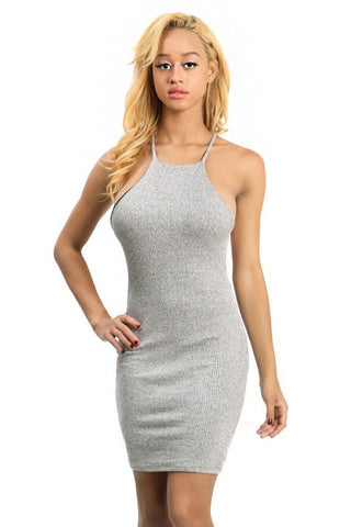 Halter Top Short Ribbed Dress