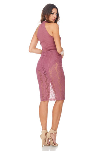 High Neck Lace Skirt Bodycon Dress