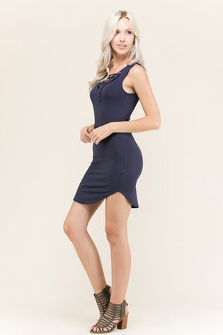 Sleeveless Lace Up Dress